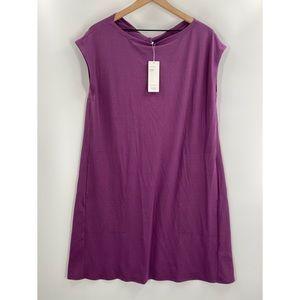 Eileen Fisher- Jersey Twist Shift Dress Pockets